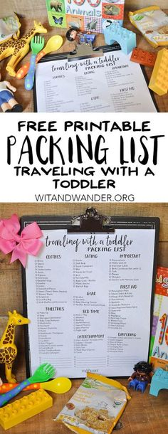 Free Printable Packing List for Traveling with a Toddler - perfect for flying on an airplane or taking a road trip in the car. This must-have list will be a lifesaver when you're taking a vacation with a toddler. Toddler Packing List - Wit & Wander