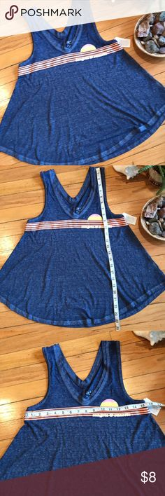 """NWT Sangria & Sunsets Tank Zoe+Liv Sangria and Sunsets blue graphic tank with tags. Reads """"Sangria & Sunsets.""""  Super soft, vintage look. A generous XS, would fit S. Zoe + Liv Tops Tank Tops"""