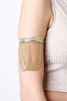Rhinestone And Chains Arm Cuff