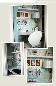 Storage on the walls to free up desk space...