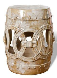 Euclid Antique Asian White Marble Glaze Ceramic Garden Seat $250