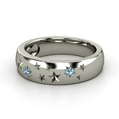 Written in the Stars Ring,   Sterling Silver Ring  with Blue Topaz
