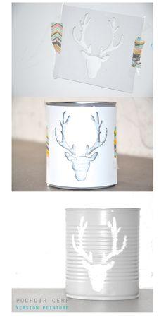 Comment faire un contenant a bougie avec un dessin de cerf? Decoration, Tableware, Stencil, How To Make, Candle, Winter, Birthday, Decor, Dinnerware