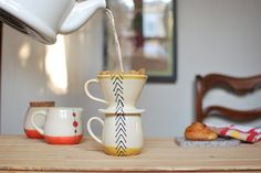 Toast Ceramics Wheel Thrown Pour Over Coffee Mug Set in Mustard Arrows, $65