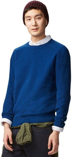 Uniqlo Men Lambswool Crewneck Sweater in Blue for Men