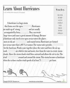 Worksheets: Learn About Hurricanes