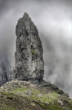 Old Man of Storr - Isle of Skye This rock pinnacle is 2,385 feet and sits proudly on Trotternish Ridge. The first ascent of the rock was in 1955.
