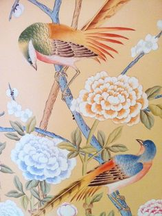 A Week's Worth of Wallpaper Ideas Chinese Wallpaper, Wall Art Wallpaper, Chinoiserie Wallpaper, Love Wallpaper, Wallpaper Ideas, Chinoiserie Chic, Large Painting, Fabric Painting, Chinese Painting