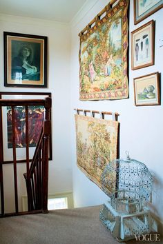 "Stepping Up - The singer's tapestry-lined stairwell, dubbed the ""Renaissance Corner."""