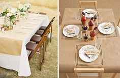 inexpensive alternative to a table runner. Buy a roll of kraft paper!