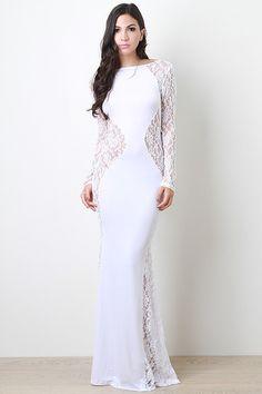 White Long Sleeve Lace Sculpture Maxi Dress