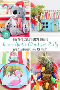 "No matter where you are or what the weather is doing outside, you will feel like you are basking in the warm sun with your toes in the sand, wishing everyone a ""Merry Chrissy, Mate!"" at this Down Under Christmas Party! #fun365 #fernandmapleparties #christmasparty #partyideas #partythemes #party #colorfulparty #holidayparty"