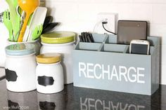 Keep your counter clear and your devices charged with this DIY recharging station.