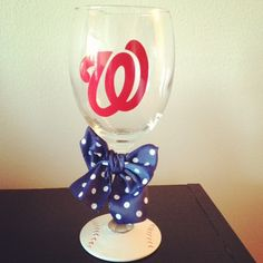 Nationals Baseball Wine Glass