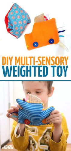 This easy DIY sensory toy is a fun beginner sewing project and DIY toy for toddlers and preschoolers. It's a weighted toy to help children with SPD, autism, or typical sensory input needs calm down, and an amazing easy calming tool for moms to create. Crafts For Boys, Sewing Projects For Beginners, Toys For Boys, Diy Projects, Diy Sensory Toys, Diy Toys, Sensory Activities, Sensory Blocks, Sensory Kids