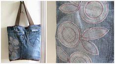 Een Shopper kun je niet alleen naaien van stof. Denk ook eens aan minder voor de hand liggende materialen, zoals bijvoorbeeld je oude (spijker)broek! Ik vind het altijd een erg leuke uitdaging om een