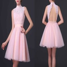 Popular pink high neck open back elegant cute for teens homecoming prom gowns dress The pink high neck elegant homecoming dresses are fully lined, 8 bones in the bodice, chest pad in the bust, lace up