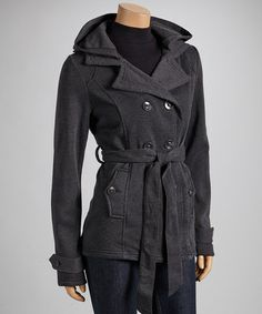Take a look at this Charcoal Fleece Notch-Collar Coat by Yoki on #zulily today!