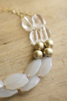 Gold Clear and White Statement Necklace Gold Beaded por ShopNestled