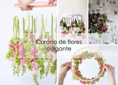 DECORACION FACIL: DIY Corona de flores colgante