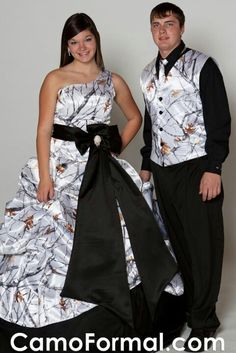 Matching snow camo dress and tux