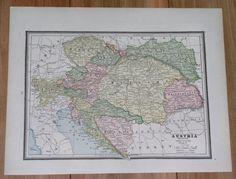 1890 ANTIQUE MAP OF AUSTRIA HUNGARY POLAND GALICIA UKRAINE SLOVENIA GERMANY #HomeKnowledgeAssociation