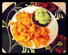 Pineapple Stuffed Chorizo Burgers with Sweet Potato Chips.... It's what's for [paleo] dinner.