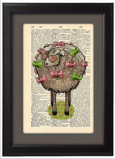 Happy Sheep sees the world through a pink glasses, DICTIONARY art, art poster, Dictionary Pages, funny Gift, home dorm wall decor, CODE/196