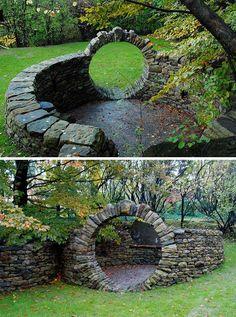 Moongate sanctuary built by dry stone waller Chuck Eblacker, Rochester, New York.  Photo: Shanna Murray