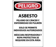 ASBESTOS DUST HAZARD (Spanish), 20X14, PAPER, 100/PK