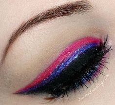 triple liner: black, purple, then pink.