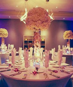 Tall Centerpiece with Orchids #wedding #centerpiece