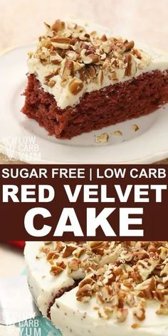 An easy to make gluten free and sugar free red velvet cake that's made from scratch. It's made with low carb flours and topped with a keto friendly cream cheese frosting. low carb dessert recipes // k Keto Desserts, Low Card Desserts, Gluten Free Desserts, Easy Desserts, Diabetic Dessert Recipes, Diabetic Desserts Sugar Free Low Carb, Easy Keto Dessert, Diabetic Deserts, Diabetic Friendly Desserts
