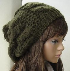 Navy green  beanie wool hat with pompon adult size. $17.00, via Etsy.