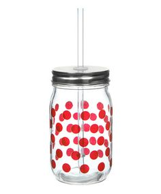 Take a look at this Red Dot Glass Mason Jar - Set of Four by Formation on #zulily today! $19 !!