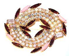 Vintage Juliana pink amethyst and ,ilk glass rhinestone brooch