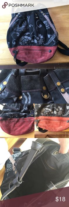 "Large Lucky Brand Bucket Backpack Used condition as you can tell by the pictures, the most wear is on the suede, that's why it's marked low. When laid flat bag measures approx 18"" long and 14"" wide. Straps are adjustable. Lucky Brand Bags Backpacks"