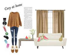 """""""Cozy at Home"""" by silly-stegosaurus ❤ liked on Polyvore featuring Sunnylife, Topshop, Nate Berkus, Nearly Natural, UGG Australia, Fringe, Tangle Teezer and Lipsy"""