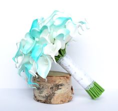 Turquoise Wedding Bouquet  Calla Lily Wedding Bouquet