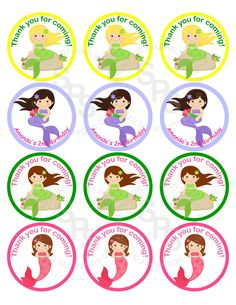 Mermaid Mix and Match 2 inch circle Cupcake toppers or tags Printable Personalized Digital File DIY. $5.00, via Etsy.