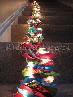 Ribbon Garland made by tying ribbon scraps to a string of Christmas lights
