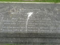 Mary Wollstonecraft's grave in Bournemouth. She is buried with her husband, William Godwin, her daughter, Mary Shelley, plus other family members.