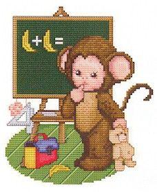 """Ellen Maurer-Stroh """"Monkey Baby Goes to School"""" Baby Cross Stitch Patterns, Cross Stitch For Kids, Cross Stitch Baby, Cross Stitch Animals, Cross Stitch Charts, Stitch Character, Cross Stitch Numbers, Stitch And Angel, Baby Animals"""