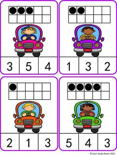 Kids in Cars Count and Clip Cards (Numbers 1-20)