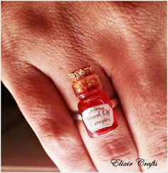 Miniature Bottle Ring Vampire Blood by ElixirCrafts on Etsy Miniature Bottles, Jewerly, Blood, Miniatures, Buy And Sell, Rings, Handmade, Stuff To Buy, Etsy