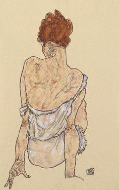 Schiele, Egon - Seated in the underwear (Sitzende in Unterwäsche, Rückenansicht) - Secession - Nude - Gouache