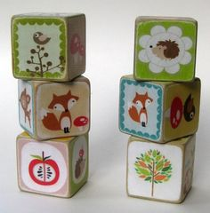 Idea - make my own using wooden blocks, scraps of paper and mod podge.     Originally pinned by maritza soto onto awesome stuff for the wee ones