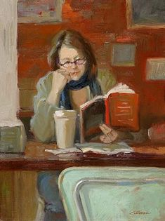 Sally Strand A Good read reading woman painting art illustration Reading Art, Woman Reading, Reading Books, Reading Library, I Love Books, Good Books, Female Art, Painting & Drawing, Woman Painting