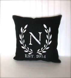 black and white pillow, personalized pillow, black white laurel wreath, initials, wedding gift, anniversary gift made by whimsysweetwhimsy