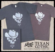 Hand-Printed Texan Gothic Cowboy Skull Shirt